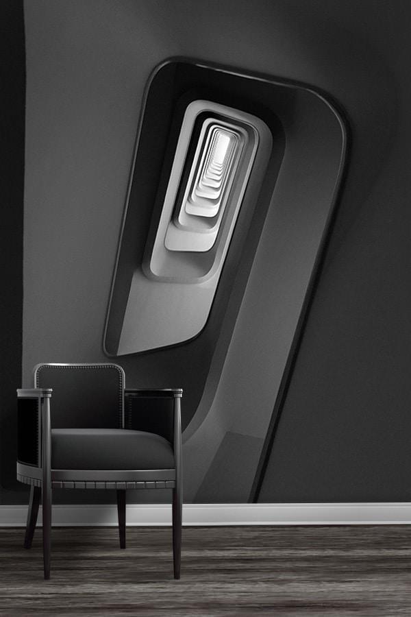 photo escalier profondeur du noir papierpeint