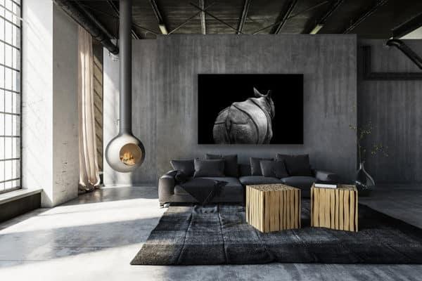 cadre photo rhinoceros indien deco