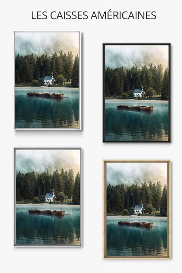 cadre photo lac de braies caisse americaine