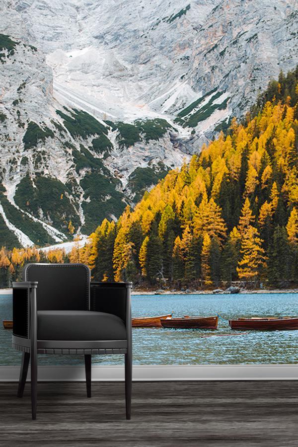 photo automne au lac de braies papierpeint