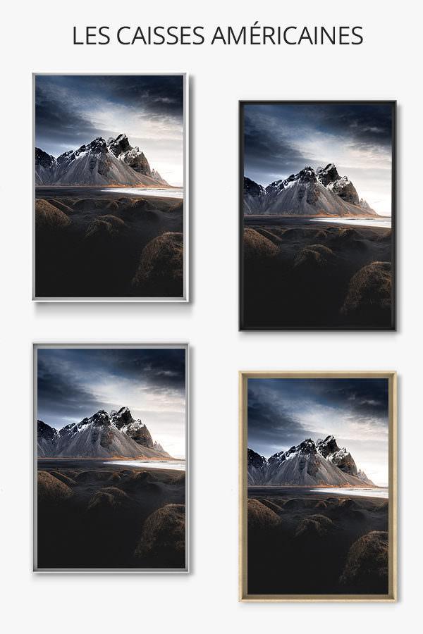 cadre photo entre plage et montagne caisse americaine