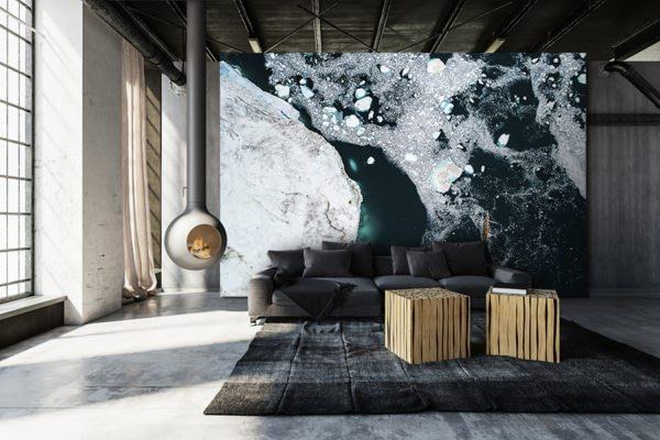 Photo navigation entre les icebergs papierpeint