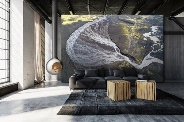 Photo riviere abstraite papierpeint