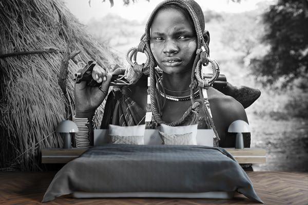 PHOTO Ethiopie femme a la kalachnikov Patrick Galibert chassis papier peint