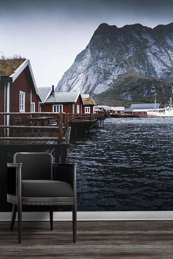 Photo-cabanes-norvegiennes-papierpeint