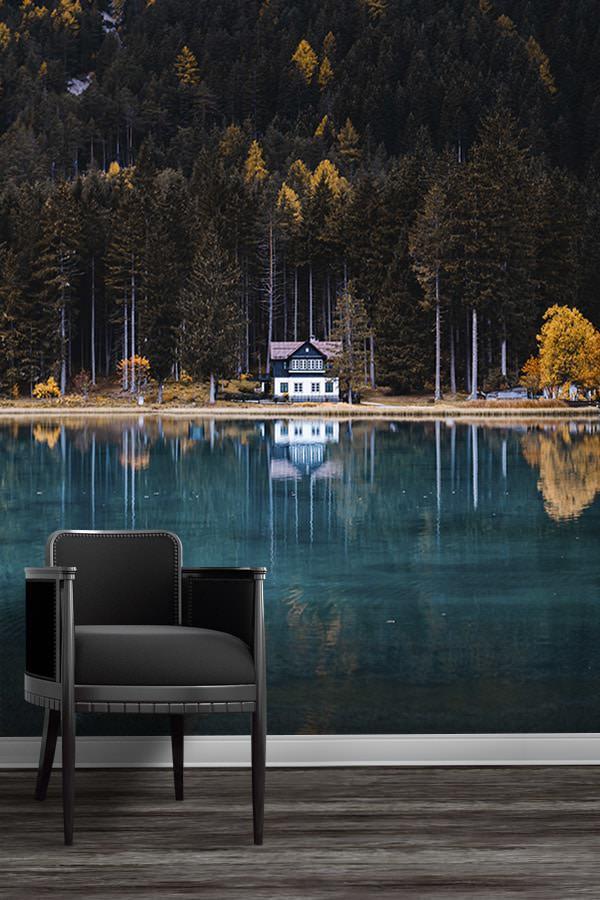 Photo-la-cabane-du-lac-de-dobbiaco-papier-peint