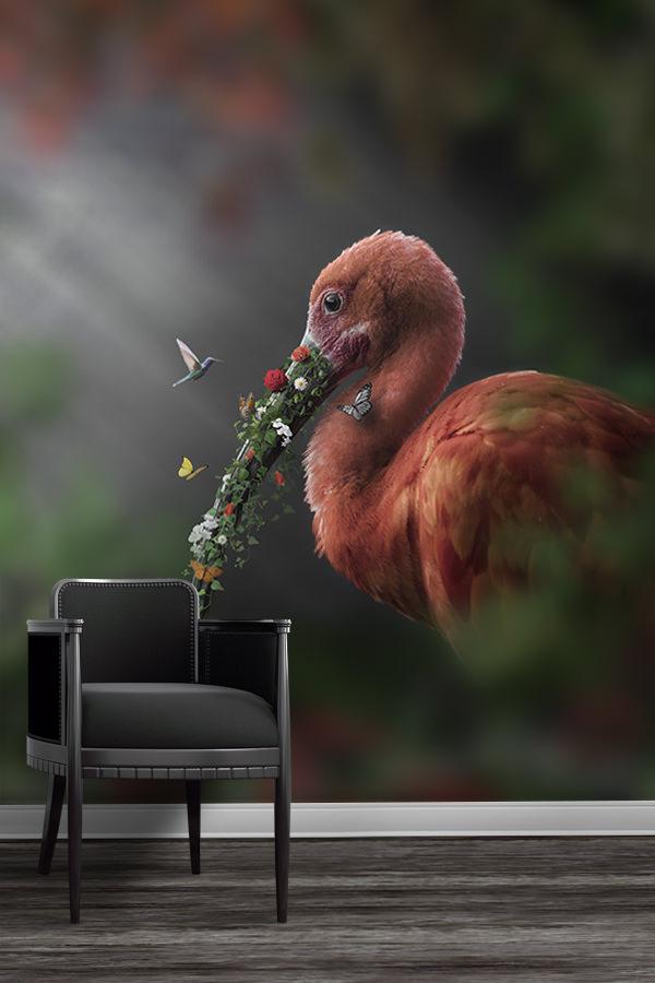 Photo-ibis-fleuri-papier-peint